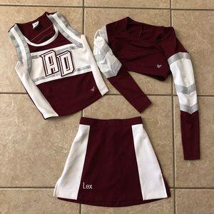 Cheerleading Uniform Maroon Silver White 3 Piece